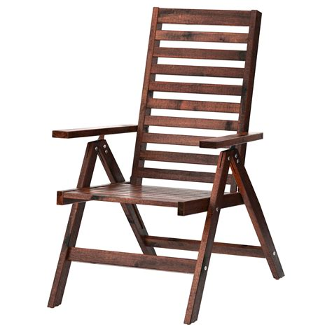foldable reclining chair 196 pplar 214 reclining chair outdoor foldable brown stained ikea