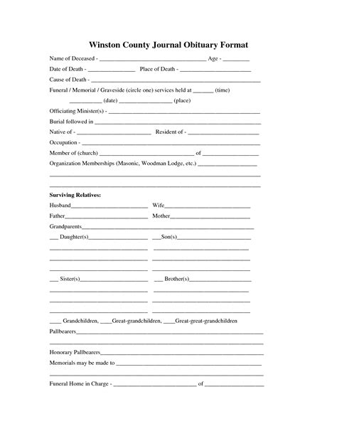 blank obituary templates www imgkid com the image kid