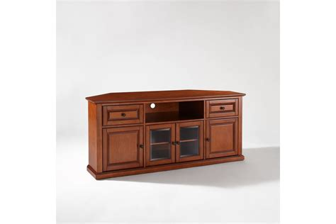 60 quot corner tv stand in classic cherry by crosley ship