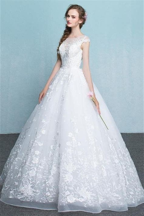 White Gown Tulle princess white lace tulle wedding dresses modest