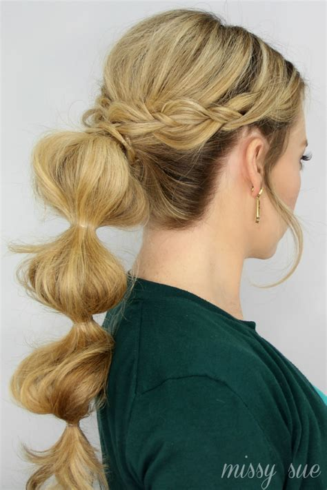 bubble hair cuts for straight hair braid wrapped bubble ponytail