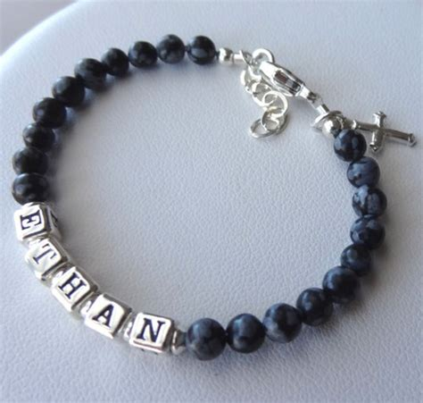 sterling silver and gemstone baby boy name bracelet