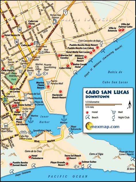 san jose mexico hotel map downtown cabo san lucas mexico map baja mexico maps