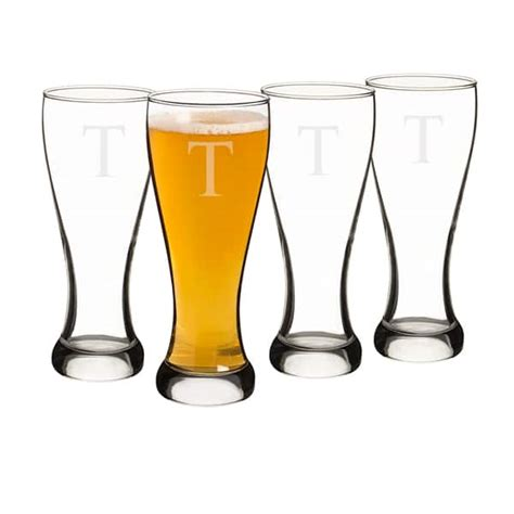 personalized barware glasses personalized 4pc pilsner glass set the man registry