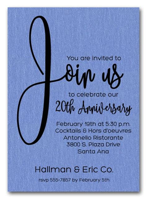 join  shimmery blue business anniversary party invitations