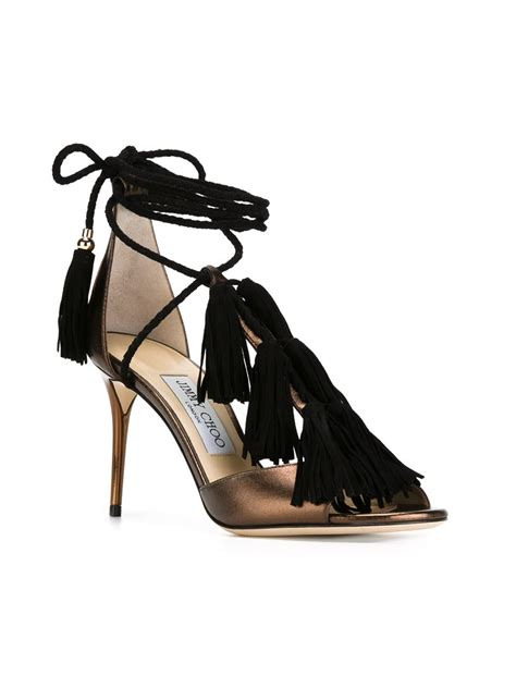 Oasis Do A Macy With Their Jimmy Choo Alike Sale Sandals by Lyst Jimmy Choo 110 Metallic Leather Sandals In Black