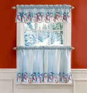 Winter Kitchen Curtains Snowman Curtains For The Kitchen