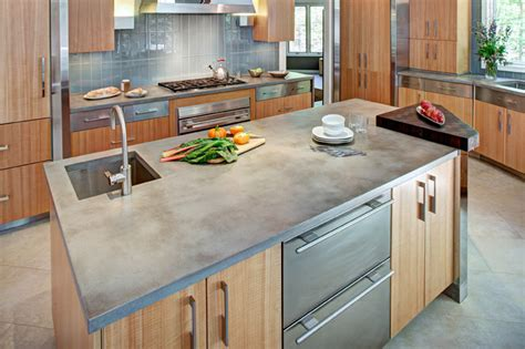 Contemporary Kitchen Countertops Concrete Countertop And Kitchen Island Contemporary