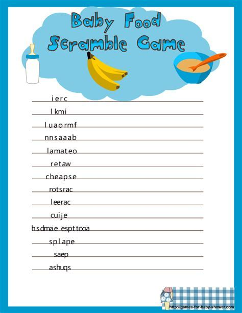 Free Printable Baby Food Scramble Game for Baby Shower