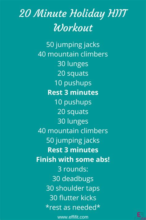 20 minute no equipment workout effifit