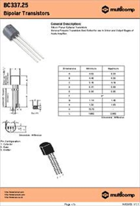 transistor bc337 hfe bc337 25 datasheet specifications transistor polarity npn collector