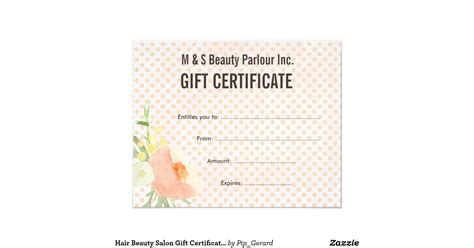 hair beauty salon gift certificate template flyer