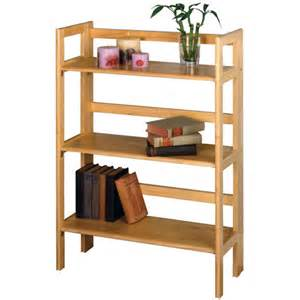 three tier folding book shelf in free standing
