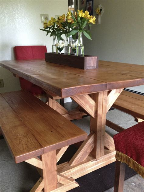 farm table and benches fancy x farmhouse table and benches plans at ana white