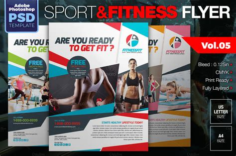 Sport Fitness Flyer Vol 05 Resume Templates On Creative Market Free Fitness Flyer Template Publisher
