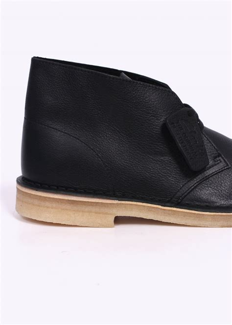 clarks originals leather desert boot black