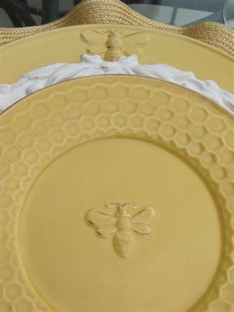 Bee plates with honeycomb edges   Setting the table with