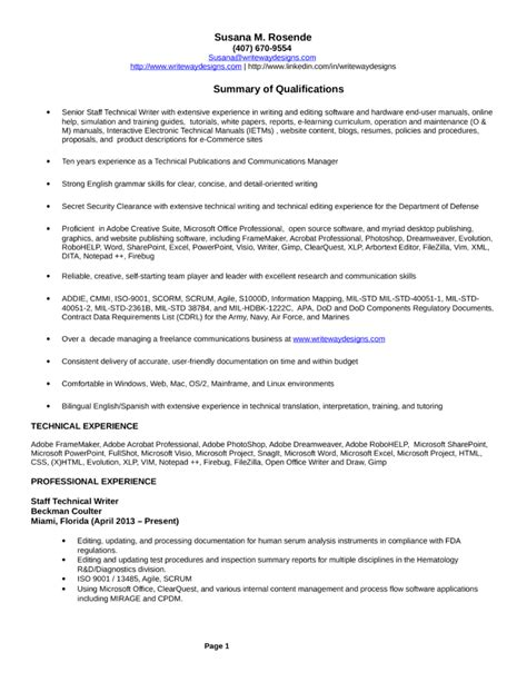 technical summary resume technical summary in resume