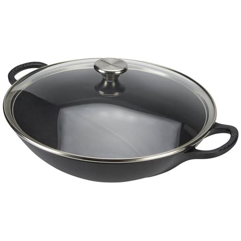 le crueset wok le creuset cast iron wok with glass lid 32cm satin