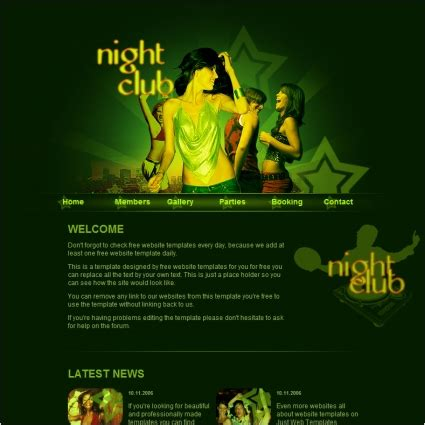 night club template free website templates in css html