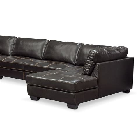 american signature chaise santana 4 piece sectional with right facing chaise black