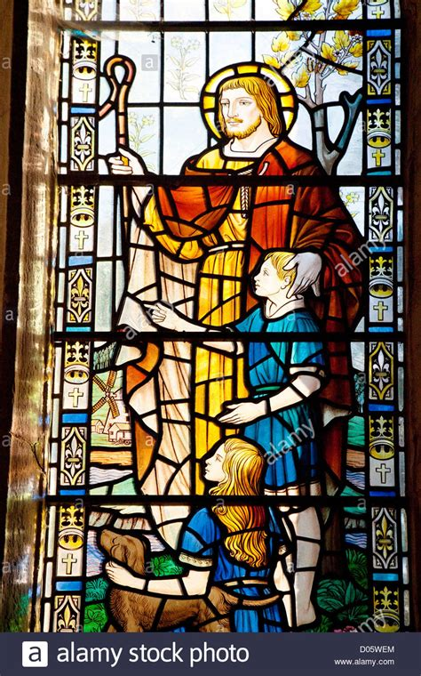 Exceptional Pictures Of Stained Glass Church Windows #3: Jesus-christ-as-the-good-shepherd-stained-glass-window-church-of-st-D05WEM.jpg