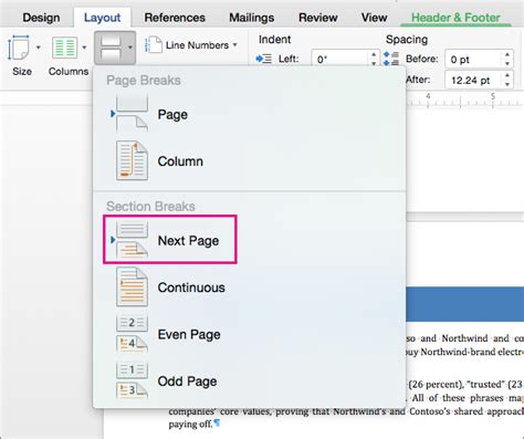 word sections add different page numbers or number formats to different