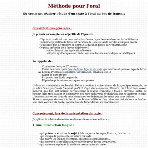 Présentation Lettre Bac Francais M 233 Thode Pour L Du Bac De Fran 231 Ais Pearltrees