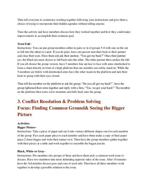 Team Building Worksheets For Adults by Team Building Activities For Adults Career Link