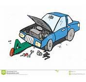Desenhos Animados Do Mec&226nico Que Trabalham Em Um Carro Isolado No