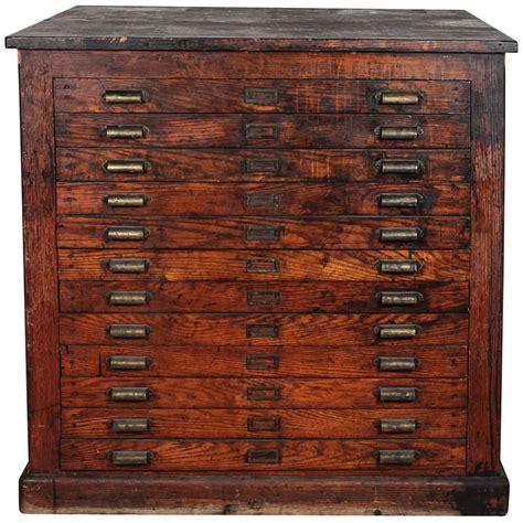antique oak printers flat file cabinet  stdibs