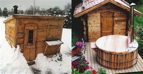 diy backyard sauna 21 inexpensive diy sauna and wood burning hot tub design ideas