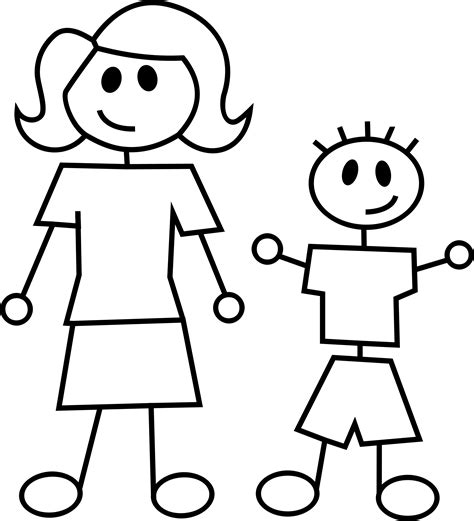 clipart mother and son stick figures