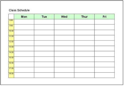 class schedule template excel college work schedule template search results