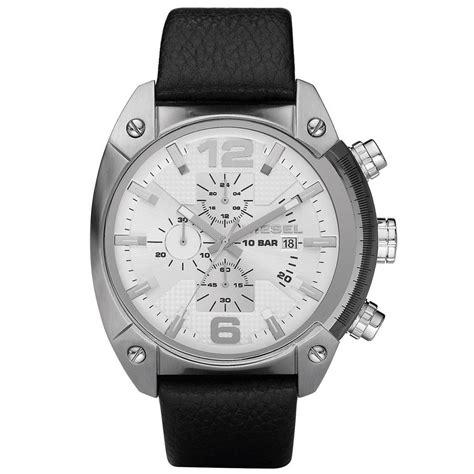 Diesel Leather Kotak Black Silver diesel mens fashion chronograph black leather