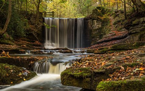wallpaper england wales waterfall river trees