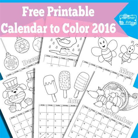 printable calendar 2016 to color 2016 calendar printable kids coloring template calendar