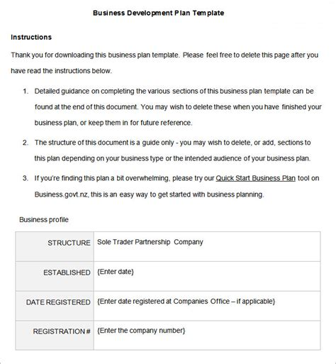 developing a business plan template business development plan 13 free word documents