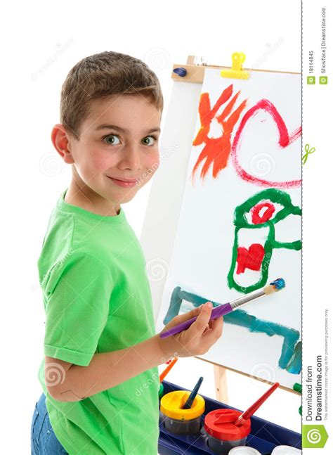 painting for boy boy artist painting at easel royalty free stock