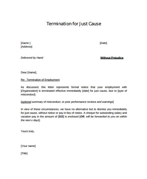 termination letter template without notice sle employment termination letter 7 documents in pdf