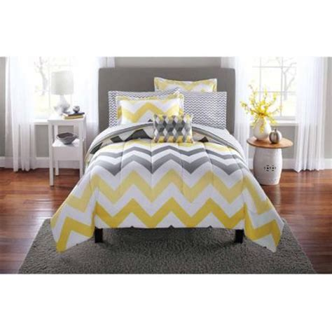 Grey And Yellow Bed Sets Mainstays Yellow Grey Chevron Bed In A Bag Bedding Comforter Set