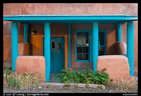 new mexico colors picture photo blue and adobe house porch santa fe new
