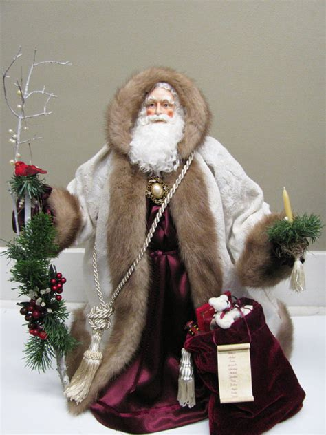 Handcrafted World Santas - santa claus doll ivory and burgundy with