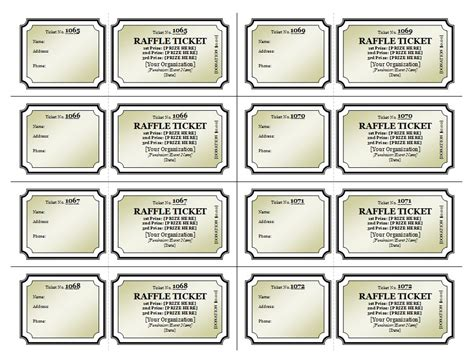 template for raffle tickets to print printable raffle ticket template search results