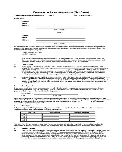 printable commercial lease agreement ny commercial lease agreement new york edit fill sign