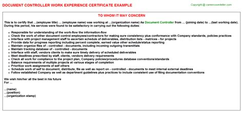 document controller work experience certificate