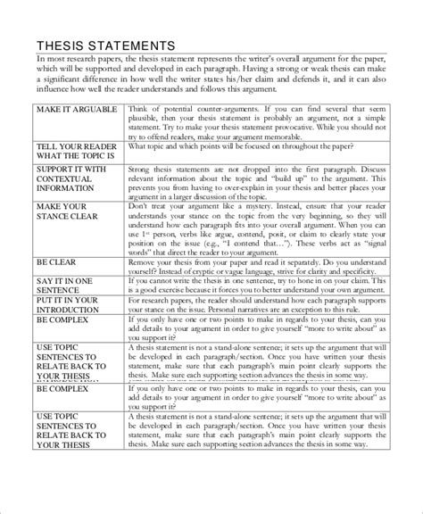 argument thesis statement sle thesis statement 10 exles in word pdf