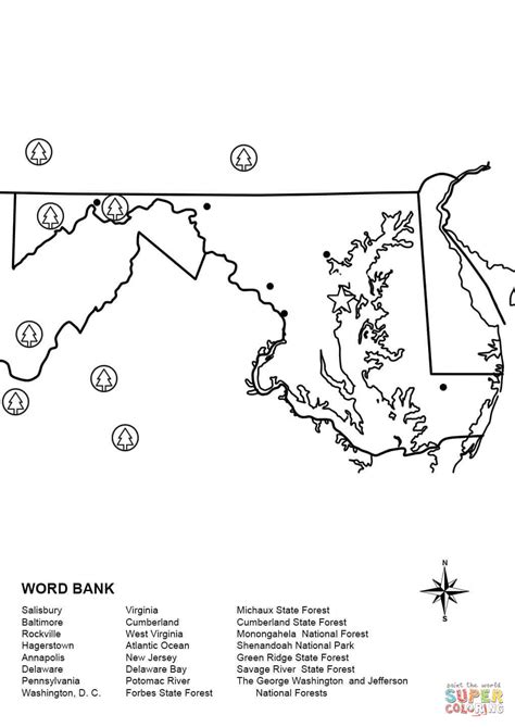 Maryland Map Worksheet Coloring Page Free Printable Maryland Coloring Pages