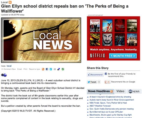 perks of being a wallflower book report school board overturns ban on the perks of being a