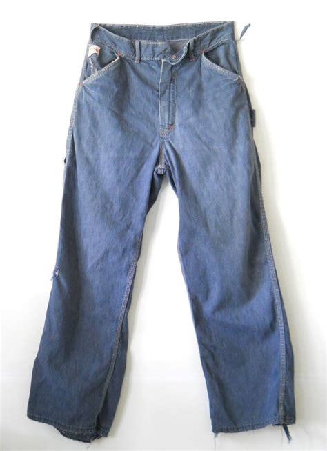 wearing classic denim 1950s blue jeans dandy man ted vintage men s carhartt work jeans distressed 1950s